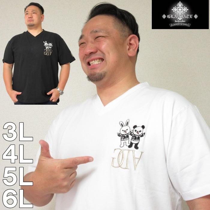 (本州四国九州送料無料)大きいサイズ メンズ GLADIATE-ベア天竺ALL 刺繍 半袖V Tシャツ(メーカー取寄)グラディエイト3L/4L/5L/6L
