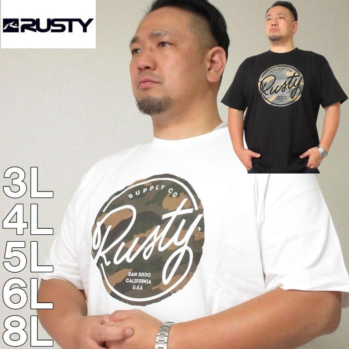 大きいサイズ メンズ RUSTY-プリント半袖Tシャツ(メーカー取寄)ラスティ/3L/4L/5L/6L/8L/