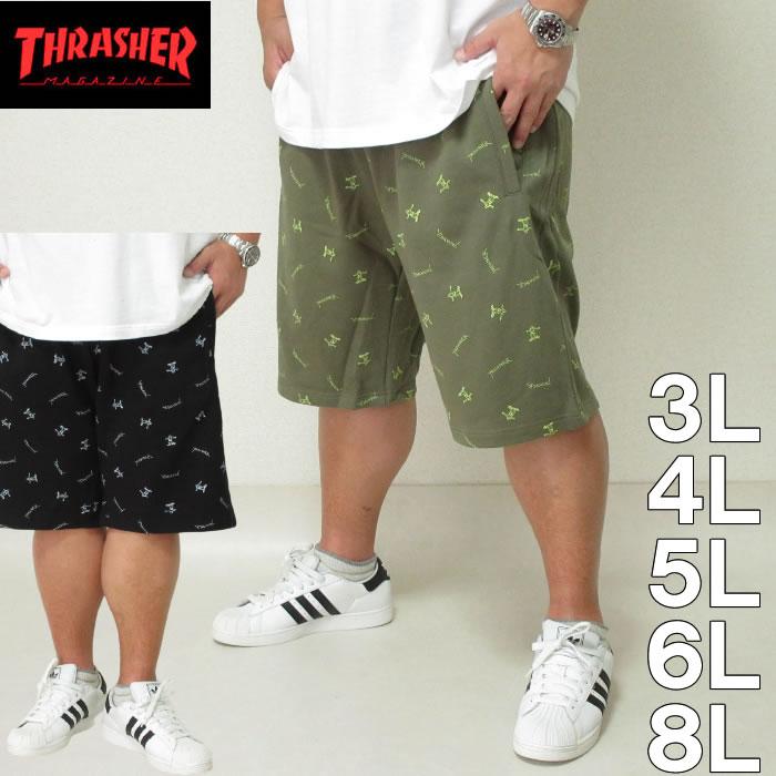 大きいサイズ メンズ THRASHER-総柄プリントハーフパンツ(メーカー取寄)スラッシャー 3L 4L 5L 6L 8L