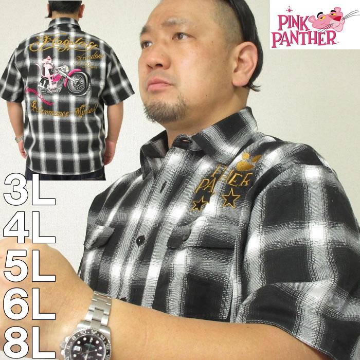 大きいサイズ メンズ PINK PANTHER×FLAGSTAFF-ピンクパンサー 半袖 チェックシャツ(メーカー取寄)フラッグスタッフ 3L 4L 5L 6L