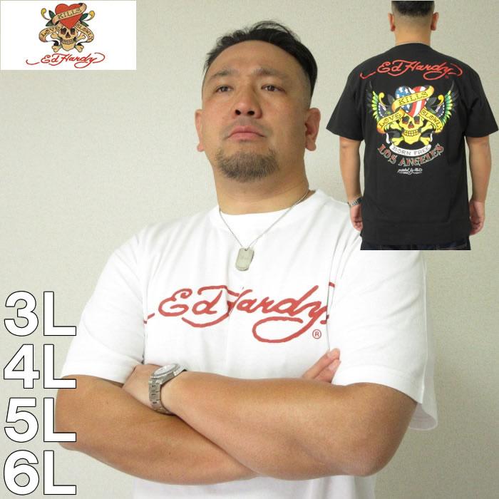 大きいサイズ メンズ Ed Hardy-プリント半袖Tシャツ(メーカー取寄)(エドハーディ) 3L/4L/5L/6L/8L 派手 ギラギラ