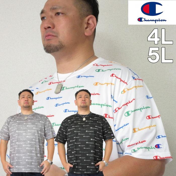(本州四国九州送料無料)大きいサイズ メンズ Champion(チャンピオン)C VAPOR 総柄 ドライ 半袖 Tシャツ 速乾 抗菌 防臭 4L/5L