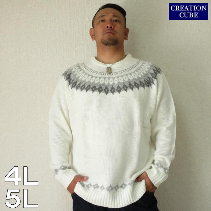 (4/30迄送料値下げ中)CREATION CUBE(クリエーション キューブ)アクリル総柄エスニックジャガードクルーネックセーター