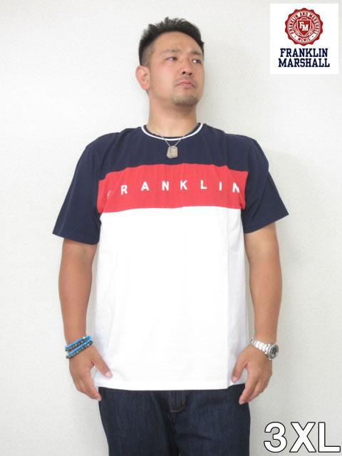 (大きいサイズ メンズ 通販 デビルーズ)FRANKLIN&MARSHALL 「LINE」TEE