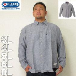 (12/31まで特別送料)OUTDOOR PRODUCTS-ロゴプリントデニム調ツイル長袖ネルシャツ(メーカー取寄)3L 4L 5L 6L 8L ネルシャツ