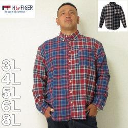(本州四国九州送料無料)H by FIGER-マルチパターンチェック長袖B.Dネルシャツ(メーカー取寄)3L 4L 5L 6L 8L シャツ
