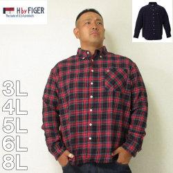 H by FIGER-チェック長袖B.Dシャツ(メーカー取寄)3L 4L 5L 6L 8L シャツ