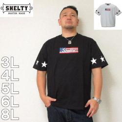 (4/30迄送料値下げ中)SHELTY-星条旗BOXロゴ刺繍半袖Tシャツ(メーカー取寄)3L 4L 5L 6L 8L 半袖 Tシャツ アメリカ ストリート シェルティ 流行 雑誌掲載