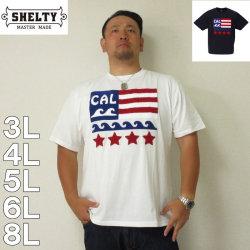 (5/31まで特別送料)SHELTY-星条旗サガラ刺繍半袖Tシャツ(メーカー取寄)3L 4L 5L 6L 8L 半袖 Tシャツ 白 紺