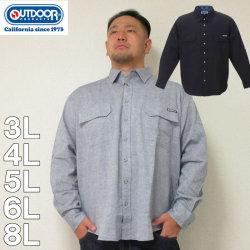 (本州四国九州送料無料)大きいサイズ メンズ OUTDOOR PRODUCTS-綿麻ダンガリーロールアップ長袖シャツ(メーカー取寄)3L/4L/5L/6L/8L