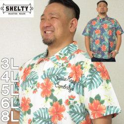 大きいサイズ メンズ SHELTY-鹿の子ボタニカル総柄半袖ポロシャツ(メーカー取寄)(シェルティ) 3L/4L/5L/6L/8L
