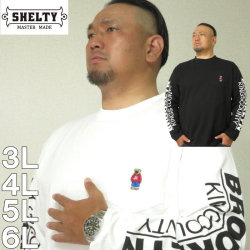 (本州四国九州送料無料)大きいサイズ メンズ SHELTY-天竺ベア 刺繍 ポケット付 長袖Tシャツ(メーカー取寄)シェルティ 3L 4L 5L 6L