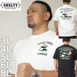 大きいサイズ メンズ SHELTY-リゾート柄スーベニア刺しゅう半袖Tシャツ(メーカー取寄)シェルティ 3L 4L 5L 6L 8L