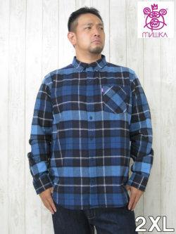 (大きいサイズ メンズ 通販 デビルーズ)MISHKA(ミシカ)「BIG CHECK」長袖ネルシャツ