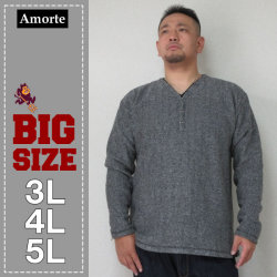 Amorte(アモルテ)ブークレフリース YヘンリーTシャツ(31チャコール)