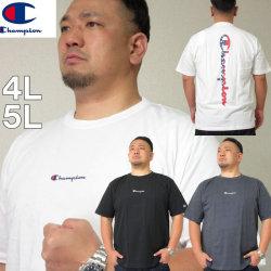 大きいサイズ メンズ Champion(チャンピオン)バックロゴ ドライ UVカット 半袖Tシャツ 吸汗速乾/4L/5L DRY