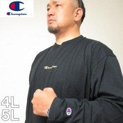 (本州四国九州送料無料)大きいサイズ メンズ Champion(チャンピオン)長袖 ドライ コットン Tシャツ C VAPOR 4L 5L