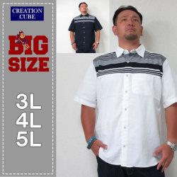 CREATION CUBE(クリエーションキューブ)ニットボーダー切替半袖シャツ