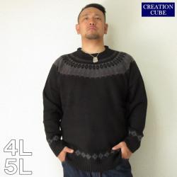CREATION CUBE(クリエーション キューブ)アクリル総柄エスニックジャガードクルーネックセーター