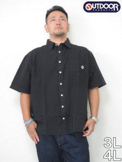 OUTDOOR(アウトドア)綿麻半袖シャツ<ブラック>