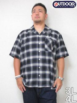 (大きいサイズメンズ通販デビルーズ)OUTDOOR(アウトドア)綿麻オンブレチェック半袖オープンシャツ<ブラック系>
