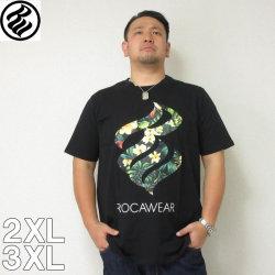 (5/31まで特別送料)ROCAWEAR(ロカウェア)TROPICAL FLAME-半袖Tシャツ ロカウェア 半袖 Tシャツ 2XL 3XL 黒 白