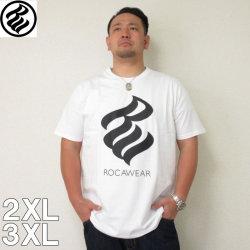 (9/30まで特別送料)ROCAWEAR(ロカウェア)FLAME半袖Tシャツ  ロカウェア 半袖 Tシャツ 2XL 3XL 黒 白