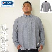 (11/30まで特別送料)OUTDOOR PRODUCTS-ロゴプリントデニム調ツイル長袖ネルシャツ(メーカー取寄)3L 4L 5L 6L 8L ネルシャツ