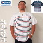 OUTDOOR PRODUCTS-DRYメッシュパネルボーダー 半袖 Tシャツ(メーカー取寄)3L 4L 5L 6L 8L ドライ
