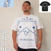 NECOBUCHI-SAN-デカプリント半袖Tシャツ(メーカー取寄)3L 4L 5L 6L 8L 半袖 Tシャツキャラクター 部屋着 パジャマ ルームウェア ネコブチ 男女に人気