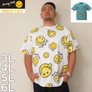 SMILEY FACE-総柄プリント半袖Tシャツ(メーカー取寄)3L 4L 5L 6L 8L 半袖 Tシャツキャラクター 部屋着 パジャマ ルームウェア スマイリー 男女に人気