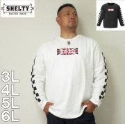 (11/30まで特別送料)SHELTY-天竺刺繍&プリント長袖Tシャツ(メーカー取寄)3L 4L 5L 6L 長袖 Tシャツ
