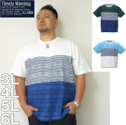 TimelyWarning-ナノテック加工スラブ3段切替半袖Tシャツ(メーカー取寄)制菌 3L 4L 5L 6L Tシャツ