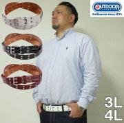 大きいサイズ メンズ OUTDOOR PRODUCTSWハトメベルト(メーカー取寄)ウェスト140cmまで適応 ウェスト150cmまで適応 本革と合成皮革