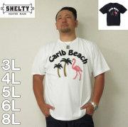 (6/30まで特別送料)SHELTY-フラミンゴサガラ刺繍半袖Tシャツ(メーカー取寄)3L 4L 5L 6L 8L 半袖 Tシャツ 白 紺