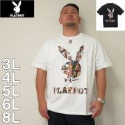 PLAYBOY-カラー分解プリント&刺繍半袖Tシャツ(メーカー取寄)3L 4L 5L 6L 8L プレイボーイ うさぎ エロ セクシー 半袖 Tシャツ
