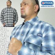 大きいサイズ メンズ OUTDOOR PRODUCTS-綿麻ロールアップオンブレチェック 長袖シャツ(メーカー取寄)アウトドア プロダクツ 3L 4L 5L 6L 8L