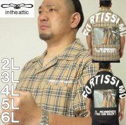 大きいサイズ メンズ in the attic-背中アーチロゴ+昇華転写 半袖シャツ(メーカー取寄)インジアティック 2L 3L 4L 5L 6L