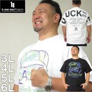 大きいサイズ メンズ b-one-soul-DUCK DUDEネオンロゴ半袖Tシャツ(メーカー取寄)ビーワンソウル/3L/4L/5L/6L