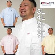 (本州四国九州送料無料)大きいサイズ メンズ H by FIGER-オックス半袖B.Dシャツ(メーカー取寄)(エイチバイフィガー)/3L/4L/5L/6L/8Lボタンダウン