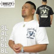 大きいサイズ メンズ SHELTY-チェーン 刺しゅう プリント半袖Tシャツ(メーカー取寄)(シェルティ) 3L/4L/5L/6L/8L アメカジ