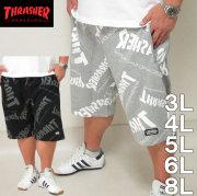 大きいサイズ メンズ THRASHER-ロゴ総柄プリント ハーフパンツ(メーカー取寄)スラッシャー/3L/4L/5L/6L/8L