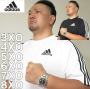 大きいサイズ メンズ adidas-半袖Tシャツ(メーカー取寄)ドライ/アディダス/2L/3L/4L/5L/6L/7L