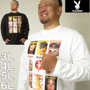 大きいサイズ メンズ PLAYBOY-天竺プリント 長袖 Tシャツ(メーカー取寄)プレイボーイ 3L 4L 5L 6L