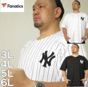 大きいサイズ メンズ Fanatics-NYアップリケ ベースボール シャツ(メーカー取寄)ファナティクス 3L 4L 5L 6L ヤンキース