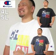 大きいサイズ メンズ Champion(チャンピオン)ポップロゴ ドライ UVカット 半袖Tシャツ 吸汗速乾/4L/5L/DRY