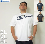 (4/30迄送料値下げ中)Champion(チャンピオン)C-VAPORビッグロゴ半袖Tシャツ チャンピオン ドライ Tシャツ 白 黒 紺 3L 4L 5L