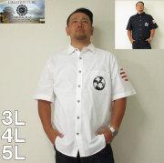 (5/31まで特別送料)CREATION CUBE(クリエーションキューブ)オックス両面スパンコール刺繍 半袖レギュラーシャツ 3L 4L 5L 白 紺 半袖 シャツ