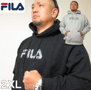 大きいサイズ メンズ FILA(フィラ)ロゴプリント プルオーバー フーディー パーカー 2XL