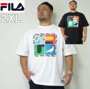 (本州送料無料)大きいサイズ メンズ STAPLE(ステイプル)FILA×STAPLE 半袖Tシャツ コラージュ デカロゴ フィラ 2XL Tシャツ
